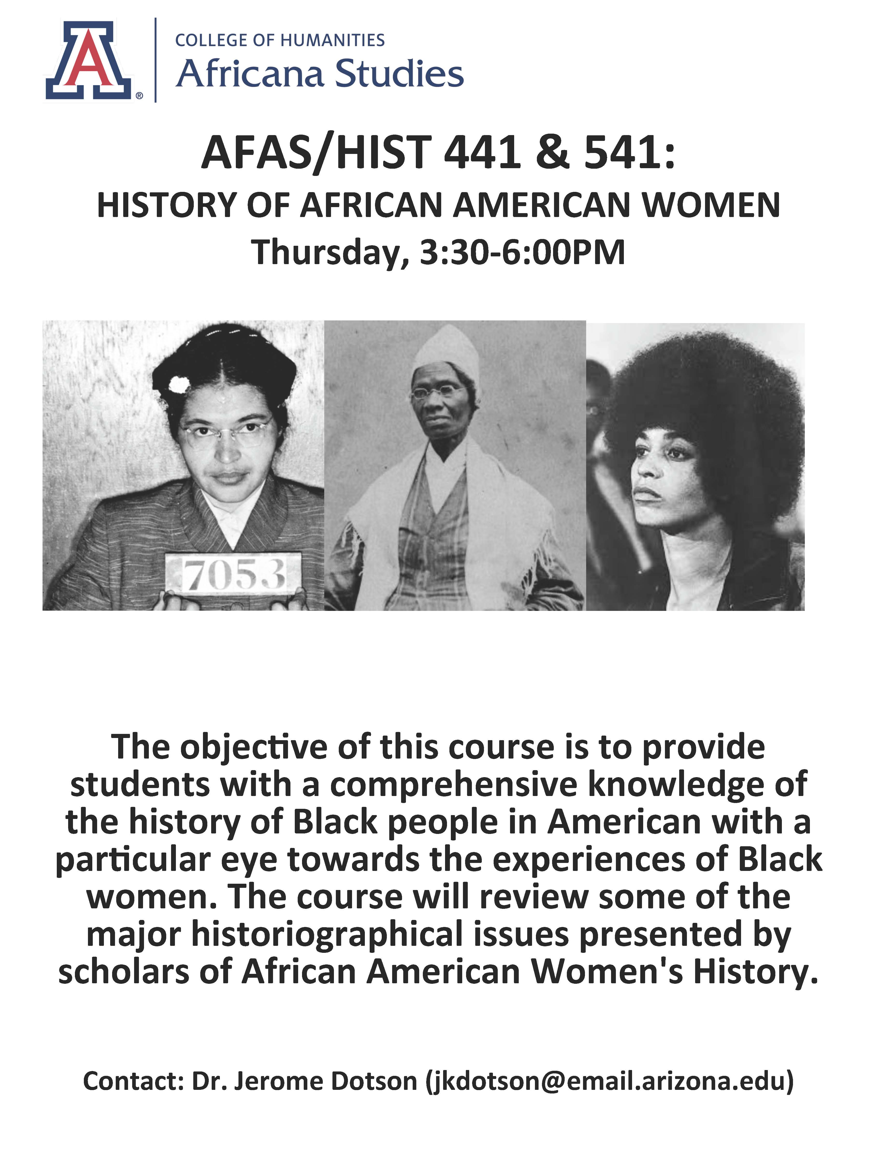 Afas Hist 441 Amp 541 History Of African American Women