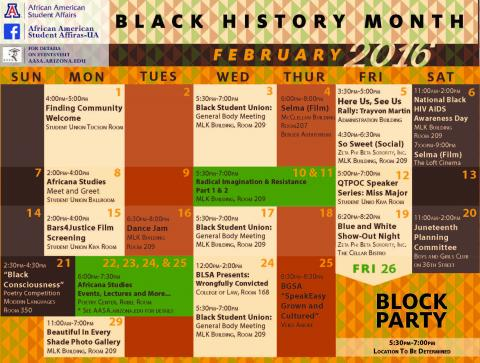 Black History Month Calendar of Events | Africana Studies Program